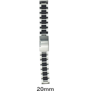kolet Silver/Black 20 Mm Stainless Steel Watch Strap