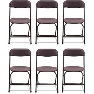 Supreme Amity Plastic Living Room Chair Set Of 6(Finish Color - Brown)