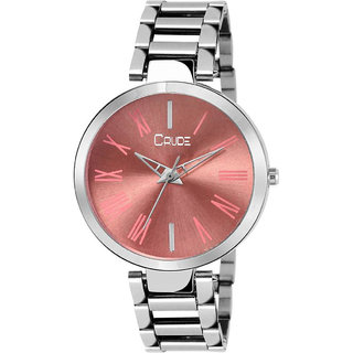 Crude rg2042 silver chain pink dial watch for women and girls