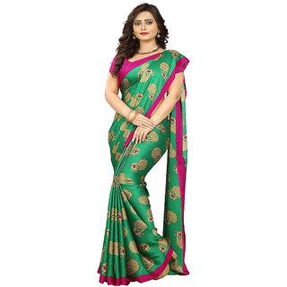 Indian Beauty Peacock Green Art Silk Kalamkari Printed Saree With Blouse