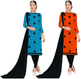 Beelee Typs Blue-Orenge Cotton Lace Kurta  Churidar Material Dress Material (Unstitched)