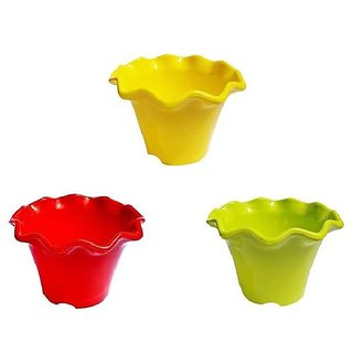 Set of 3 Plant Pots - Flower Design (4 Inch)-Assorted Colours