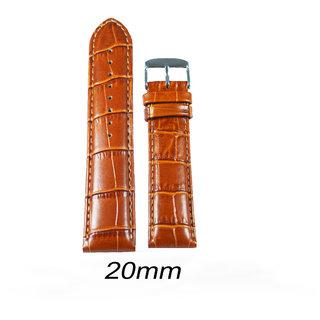 kolet 20 Mm Croco Leather Padded Watch Strap (Tan)