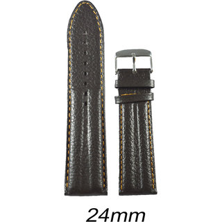 kolet 24 mm Leather Dotted Half Padded Watch Strap (Brown)