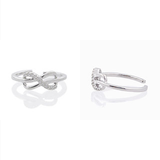 07e71a91d Silver Dew NEW 925 Sterling Silver Plain Infinity Design Toe Rings Diamond  With Gold Plated For