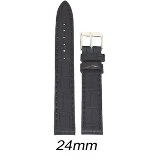 kolet 24 mm Croco Leather Matte Finish Watch Strap (Black)
