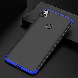 BRAND FUSON VIVO V9 Front Back Case Cover Original Full Body 3-In-1 Slim Fit Complete 3D 360 Degree Protection Hybrid Hard Bumper (Black Blue) (LAUNCH OFFER)