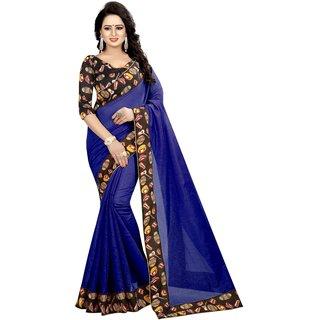Vibha Blue Color Chanderi cotton Plain With Lace Saree