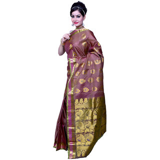 fb311d0a8ed06 Buy Divya Gold Motifs Contrast Ornate Border Pallu Pure Banarasi Silk Saree  Online   ₹14996 from ShopClues