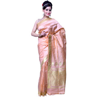 a90db8283988d Advika Peach Pink With Gold Motifs Ornate Border Pallu Pure Banarasi Silk  Saree