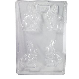 JADES Transparent Plastic Bunny Big Chocolte Moulds Bakeware