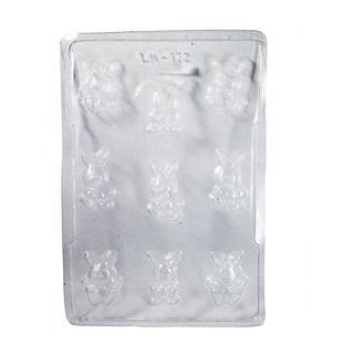 JADES Transparent Plastic Bunny Small Chocolte Moulds Bakeware