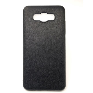 VAKIBO Black Leather Texture Soft Silcon Ultra Thin Slim - All Sides Covered -Flexible Back Cover Case for Samsung Galaxy J7.6 , Samsung Galaxy J7 2016