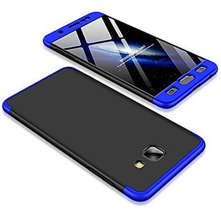 MOBIMON Samsung J7 Max Front Back Case Cover Original Full Body 3-In-1 Slim Fit Complete 3D 360 Degree Protection Hybrid Hard Bumper (Black Blue) (LAUNCH OFFER)