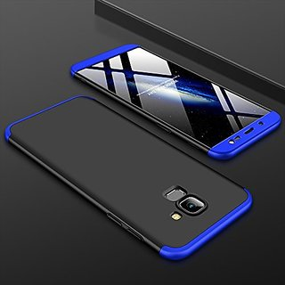 MOBIMON Samsung J4 2018 Front Back Case Cover Original Full Body 3-In-1 Slim Fit Complete 3D 360 Degree Protection Hybrid Hard Bumper (Black Blue) (LAUNCH OFFER)
