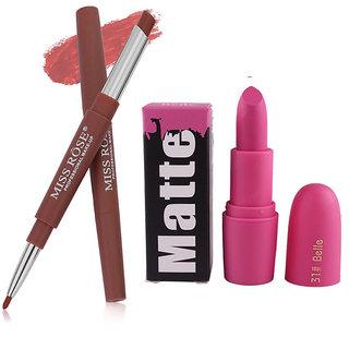 Combo - Miss Rose 2 In 1 Waterproof  Lipstick/Lipliner With Matte Lipstick