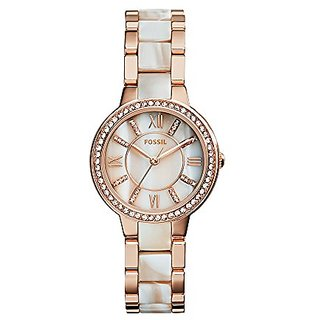 Fossil Virginia Analog Mother Of Pearl Dial Womens Watch-ES3716