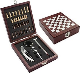 Wooden Chess Board Game Wine Gift Set with Wine Opener, Drip Collar, Bottle Stopper, Wine Thermometer and 32 miniature chess pieces Best Gift for Christmas , wine lover ,wedding ,friends .