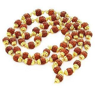 Faux 6mm Rudraksha Beaded (54+1 Bead) Golden Cap Chain,Mala,Necklace for Men, Women, Unisex in 28 Inch by Beadworks