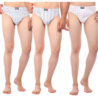 Combo of 3 Men's Regular Rise Elastic Waistband White Color Cotton Brief for Men's with Design on it - Set of 3 Mens Underwear Available In Size M (Medium) & in Diffrent Design's (80cm to 85cm Size)