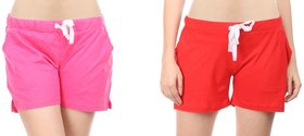 Combo of 2 Women Cotton Night Shorts in Red & Pink Color - Set of 2 Ladies Plain / Solid Casual Boxer Regular Fit M Size (Medium) Short Pant with 2 Side Pockets & Drawstring with Elastic Waistband (Pack of 2) by Semantic