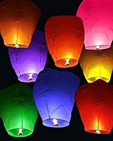 DealBindaas Flying Lantern Flying Saucer's Flying Lantern Sky Lantern Pack of 10 Multicolor Paper Sky La