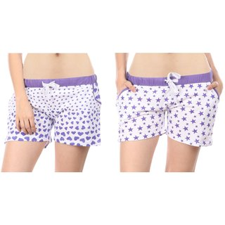 Combo of 2 Women Cotton Night Shorts in Purple & White Color - Set of 2 Ladies Printed Casual Boxer Regular Fit L Size (Large) Short Pant with 2 Side Pockets & Drawstring with Elastic Waistband (Pack of 2) by Semantic