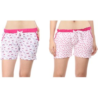 Combo of 2 Women Cotton Night Shorts in Pink & White Color - Set of 2 Ladies Printed Casual Boxer Regular Fit L Size (Large) Short Pant with 2 Side Pockets & Drawstring with Elastic Waistband (Pack of 2) by Semantic