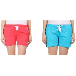 Combo of 2 Women Cotton Night Shorts in Red & Blue Color - Set of 2 Ladies Plain / Solid Casual Boxer Regular Fit M Size (Medium) Short Pant with 2 Side Pockets & Drawstring with Elastic Waistband (Pack of 2) by Semantic