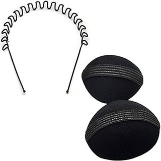 GaDinStylo Set of Puff Bumpits and ZigZag Wave Band Hair Accessory Set (Black)