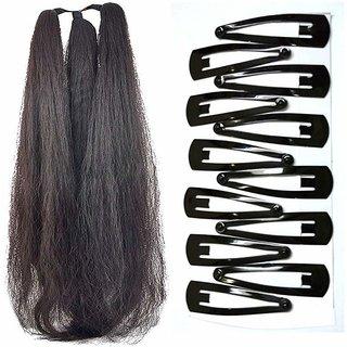 GaDinStylo 42 Inchs Hair Parandi with 12 Hair Clips Black