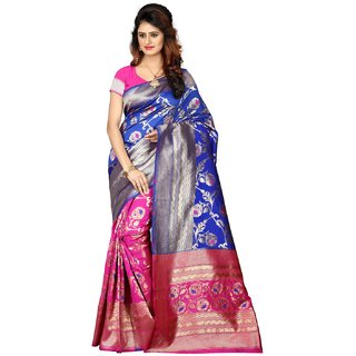 Fabrica Shoppers New Designer banarsi silk blue  pink color  saree