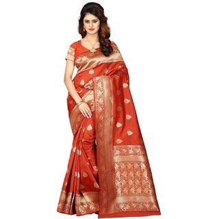 Fabrica Shoppers New Designer banarsi silk orange  saree