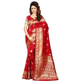 Fabrica Shoppers New Designer banarsi silk red  saree