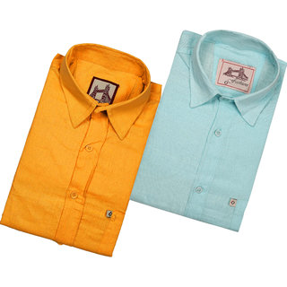 Spain Style Solid Regular Fit Casual Shirts For Men's Pack of 2