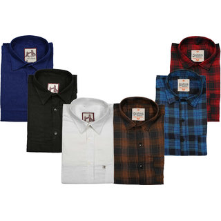Pack Of 6 Spain Style Multicolor Slim Fit Shirts For Men