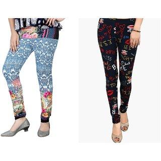DeVry  Fresh Take  New Desings Printed  Multi colours  Leggings (Pack Of 2 Pc Set)DRY548