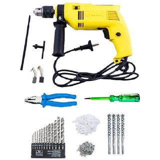 Buildskill Combo Of 13mm 500W Impact Drill Machine with Bits, Plier, Tester & Fastener (6 Months Warranty)