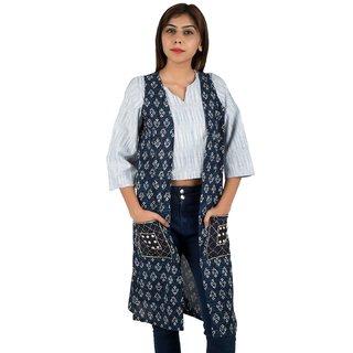 IFONLY Women's Blue Printed Khadi Shrug