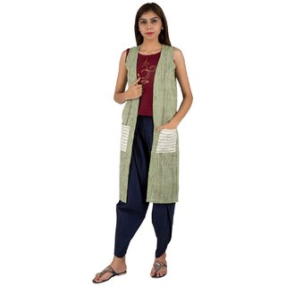IFONLY Women's Green Striped Cotton Shrug