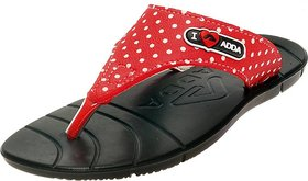 ADDA COMFORTABLE BLACK / RED COLOR FLIPFLOPS FOR WOMEN