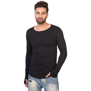 5df0ef4d18f Buy Pause Black Solid Cotton Round Neck Slim Fit Full Sleeve Men S T ...