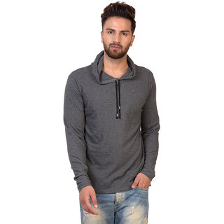 24623f724 Buy Pause Grey Solid Cotton Hooded Slim Fit Full Sleeve Men'S T ...