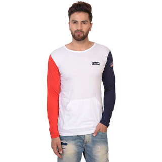 Pause White Solid Cotton Round Neck Slim Fit Full Sleeve Men'S T-Shirt
