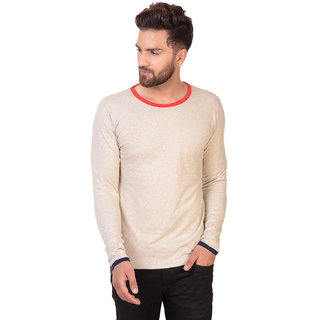 Pause Silver Solid Cotton Round Neck Slim Fit Full Sleeve Men'S T-Shirt