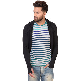Pause Black Solid Cotton Hooded Slim Fit Full Sleeve Men'S Cardigan T-Shirt