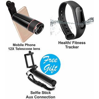 Surya Combo of 1Pc of Mobile Phone Camera Telescope Lens with Chramecast Airplay HDMI Dongle and Free Selfie Stick set