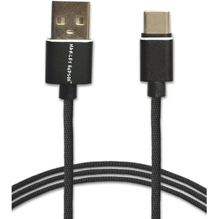 Marley Hudson 3FT USB Type C Cable Nylon Braided Data Sync High Speed Charging Cord Cable - Onyx Black