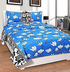 Choco Creation Blue White Flower Pack of 1 + 2 Pillow Cover