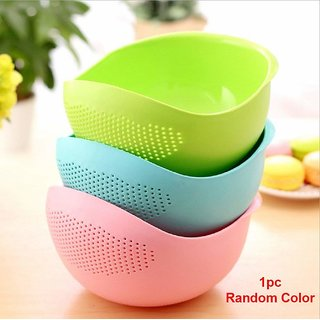 House of Quirk Multi-Function with Integrated Colander Mixing Bowl Washing Rice, Vegetable and Fruits Drainer Bowl-Size